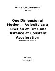 Lab 109_ One Dimensional Motion --- Velocity as a Function of Time and Distance at Constant Accelera