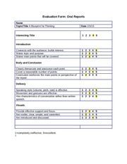 Oral Report Evaluation Form
