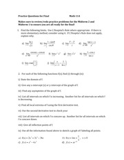 Practice Questions for Final    Math 11A