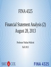 Lecture 2 - Financial Statement Analysis