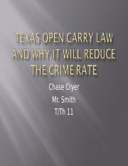 Texas Open Carry Law and Why it Will