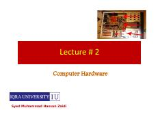 Computer Hardware (Lecture # 2)