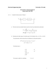 Sample Final Exam 1 Solution