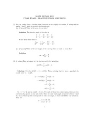 Math 32 Practice Final Exam Solutions