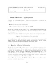 Multi-bit Secure Cryptosystem notes