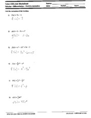 Product and Quotient Rule worksheet written solutions