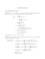 Hw7 Solutions To Hw7 Stein And Shakarchi Chapter 6 1 Exercise 1