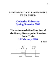 The Autocorrelation Function of the Binary Rectangular Random Pulse Train