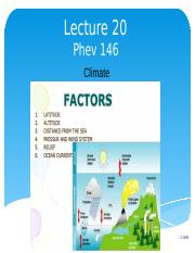 Lecture 20 Climate