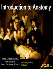 Lecture 1 Intro to Anatomy 2015