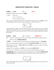 CHEM 213 Fall 2012 Additional NMR Problems Solutions