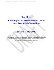 Edited DRAFT - UNICEF Toolkit on Protecting Child  Rights in Humanitarian Crisis and Transition- Aug