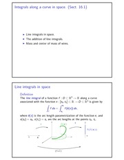 Integrals along a curve in space