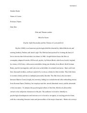 a thematic analysis of psycho essay alfred hitchcock s psycho 5 pages film and theatre studies