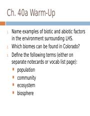 Ch. 40a Intro Ecology F17.ppt
