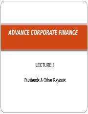 Lecture 3 Dividend & Other Payouts