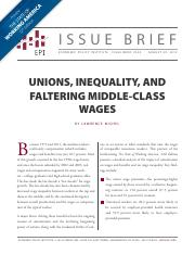 UNIONS, INEQUALITY, AND FALTERING MIDDLE-CLASS WAGES