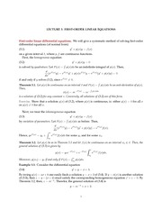 Math 18.034 First Order Linear Equations Notes