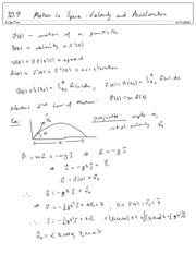10.9 Motion in Space  Velocity and Acceleration