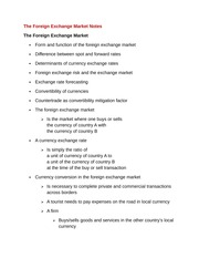 The Foreign Exchange Market Notes