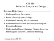 LEC 24 - Pres - Security and Disaster Recovery