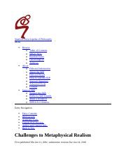 metaphysics realism Stanford Encyclopedia of Philosophy.docx