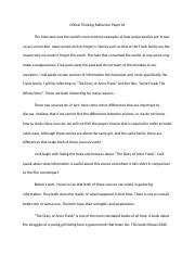 Critical Thinking Reflection Paper #1.docx