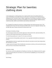 Strategic Plan for twenties clothing store
