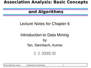 2014chapter06Data Mining Association Analysis- Basic Concepts and Algorithms