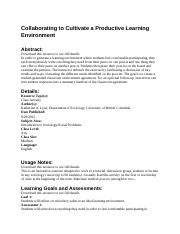 Collaborating to Cultivate a Productive Learning Environment Activity Abstract