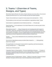 2. Teams 1 (Overview of Teams, Designs, and Types)