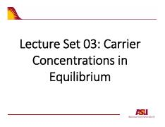 Lcture Notes Set 03 Carrier Concentrations and Generation
