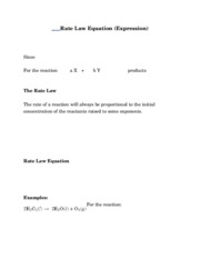 Rate Law Equation