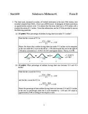 Midterm Exam 1B Solution Spring 2013 on Statistics and Data Analysis