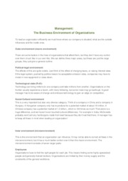 Management - The Business Environment of Organizations