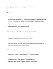 Historiography - Nineteenth Century Historical Writing - notes