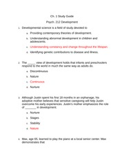 Adult Developement Study Guide for Ch. 1 with answers highlited in red