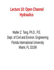 Lecture 10 Open Channel Hydraulics.ppt