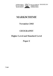 Nov 2003 Mark Scheme Geography HL and SL paper 2