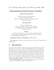 Estimating Fractional Stochastic Volatility