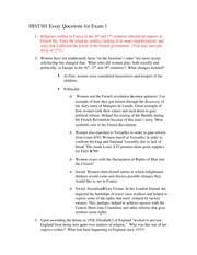 Essay Questions for Exam 1