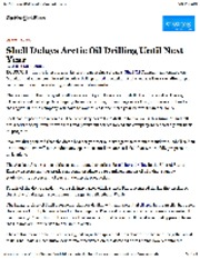 9-17-12 Shell Delays Arctic Oil Drilling Until Next Year - NYTimes