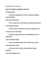 MANAGEMENT TIPS Notes