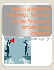 Communicating Risk to Stakeholders, Risk Owner and