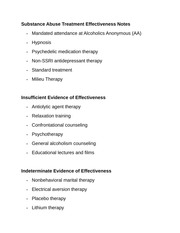 Substance Abuse Treatment Effectiveness Notes