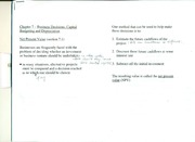 Chapter 7 Notes Business Decision, Capital Budgeting, and Depreciation