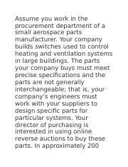 Assume you work in the procurement department of a small aerospace parts manufacturer