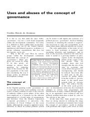critical review---Hewitt_1998_Uses and Abuses of Governance