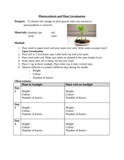 Lesson 2 - Photosynthesis and Seed Germination Lab