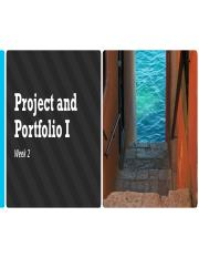 Project and Portfolio I Week 2 Virtual Class